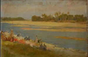 Edouard Debat-Ponsan Lessive en bord de Loire Bucato sulle sponde del Loire